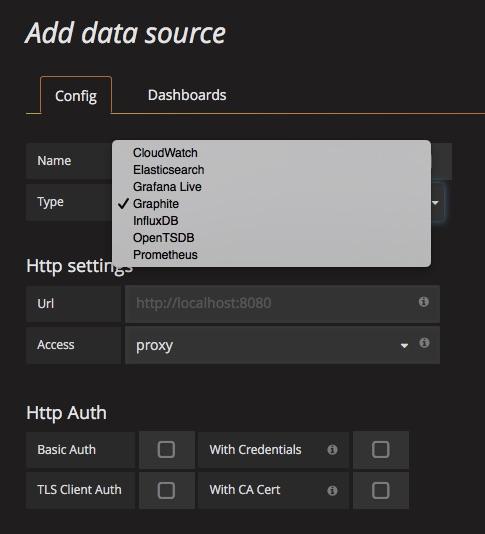Выбор источника данных в Grafana