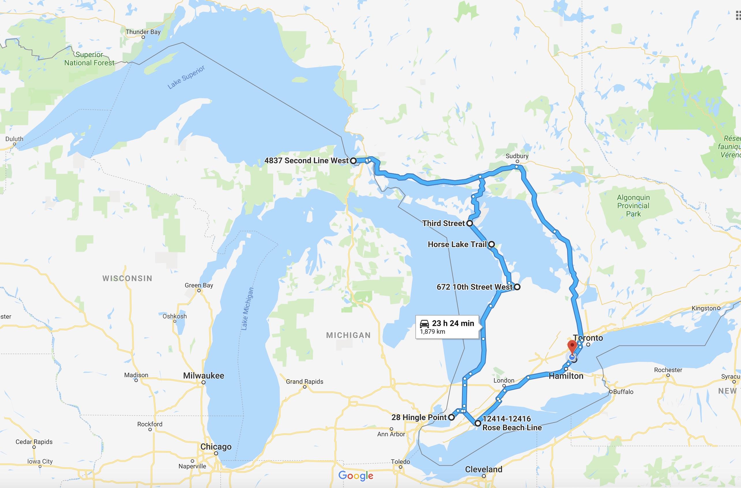 Маршрут по канадским великим озерам